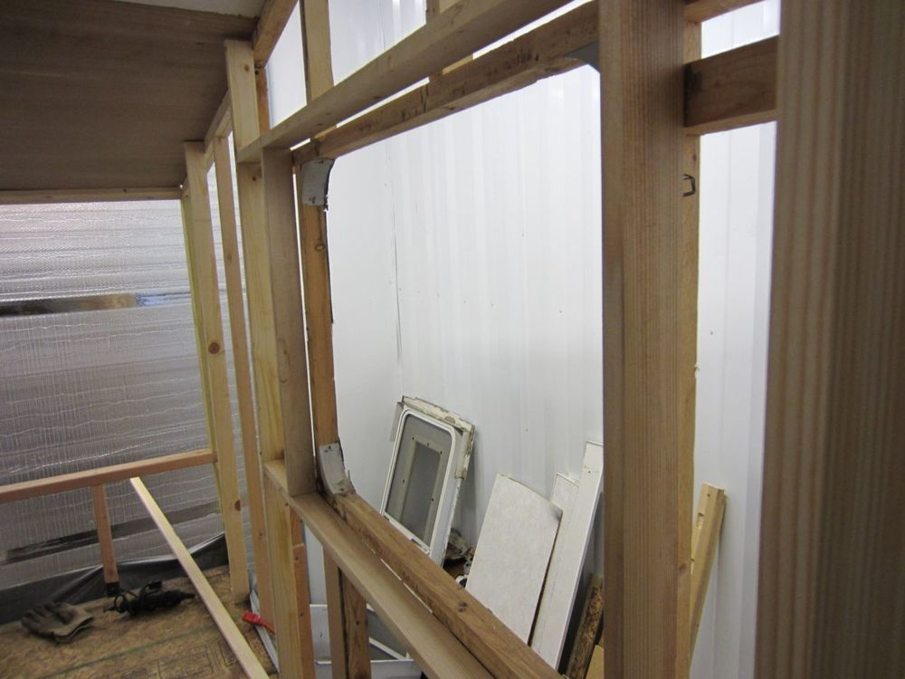 Side view of the additional side wall framing so we can add 2 inch insulation to the bedroom.