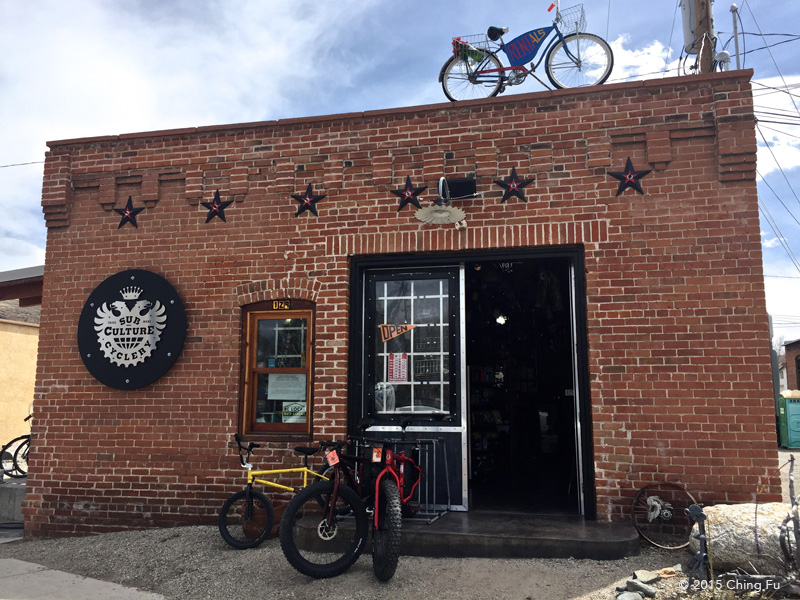 Subculture Cyclery   is Super cool bike shop that's in an old railroad Ice house that is now solar powered.