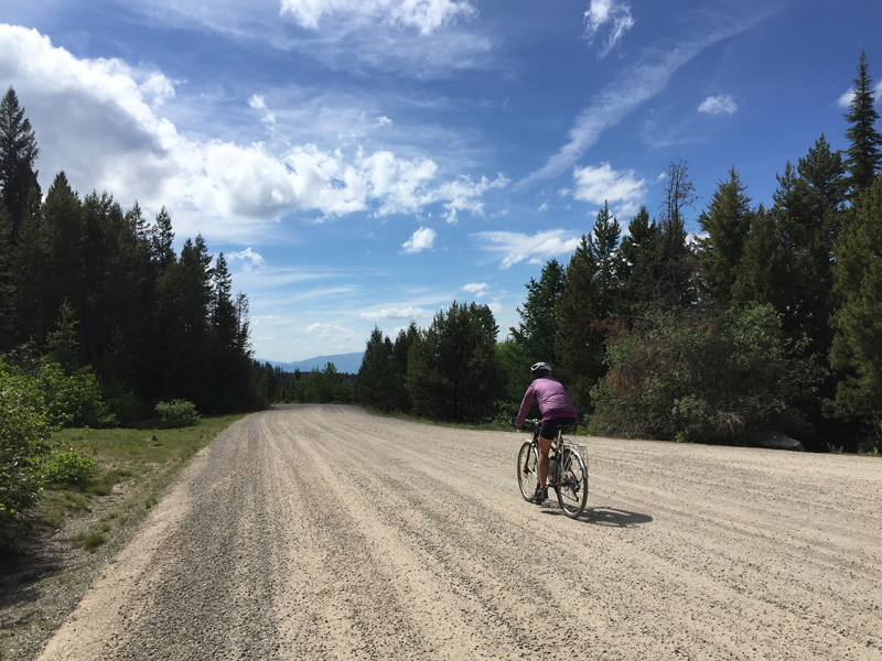 Biking along the Garnet Range Backcountry byway, which climbs 2,000 ft. to Garnet.