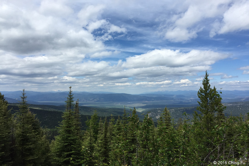 View of Rattlesnake Mountain Range, Mission Mountain Range, Blackfoot River Valley, Swan Mountain Range, and Bob Marshall Wilderness Area from almost the top of our climb.