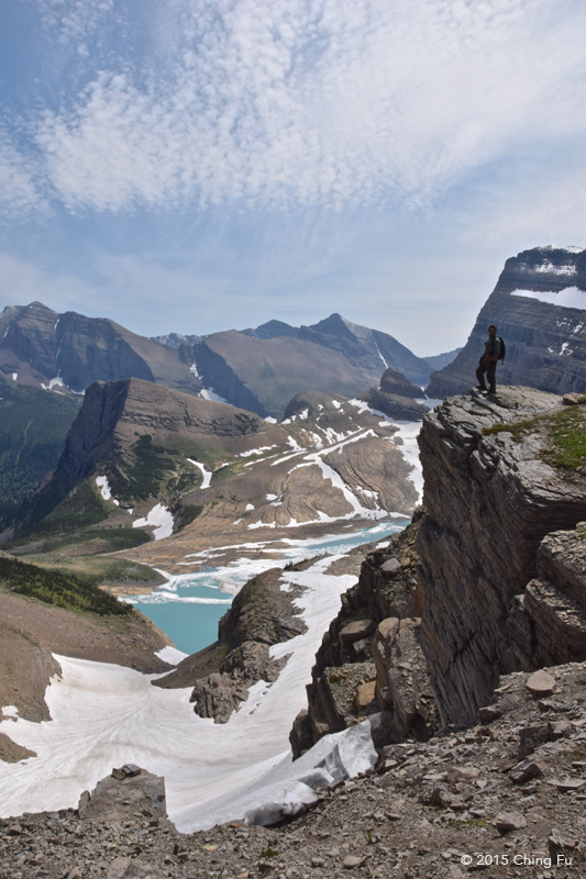 Partial view of Grinnell Lake and Glacier from the first gap on the Garden Wall.