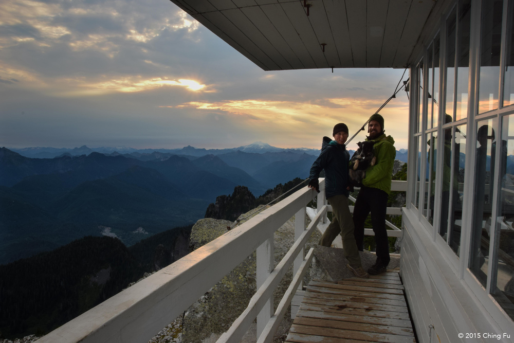 The fire lookout has a wrap-around balcony.