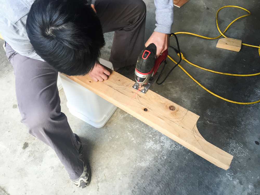 Cutting platform legs out of a 2x4.