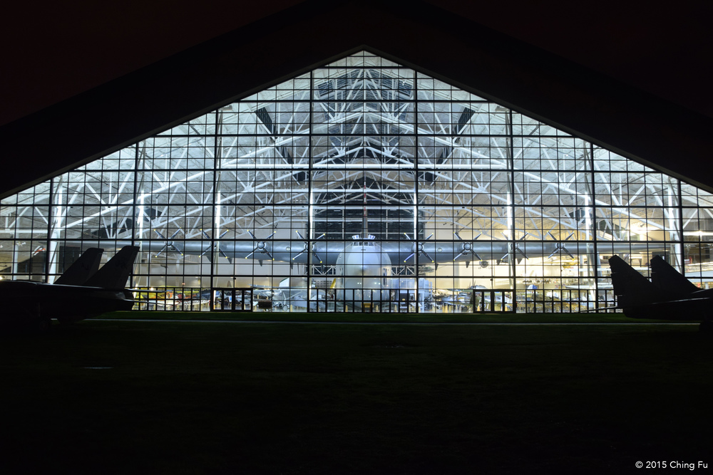 We got to the museum late at night. This was our first glimpse of the Spruce Goose, from outside the museum.