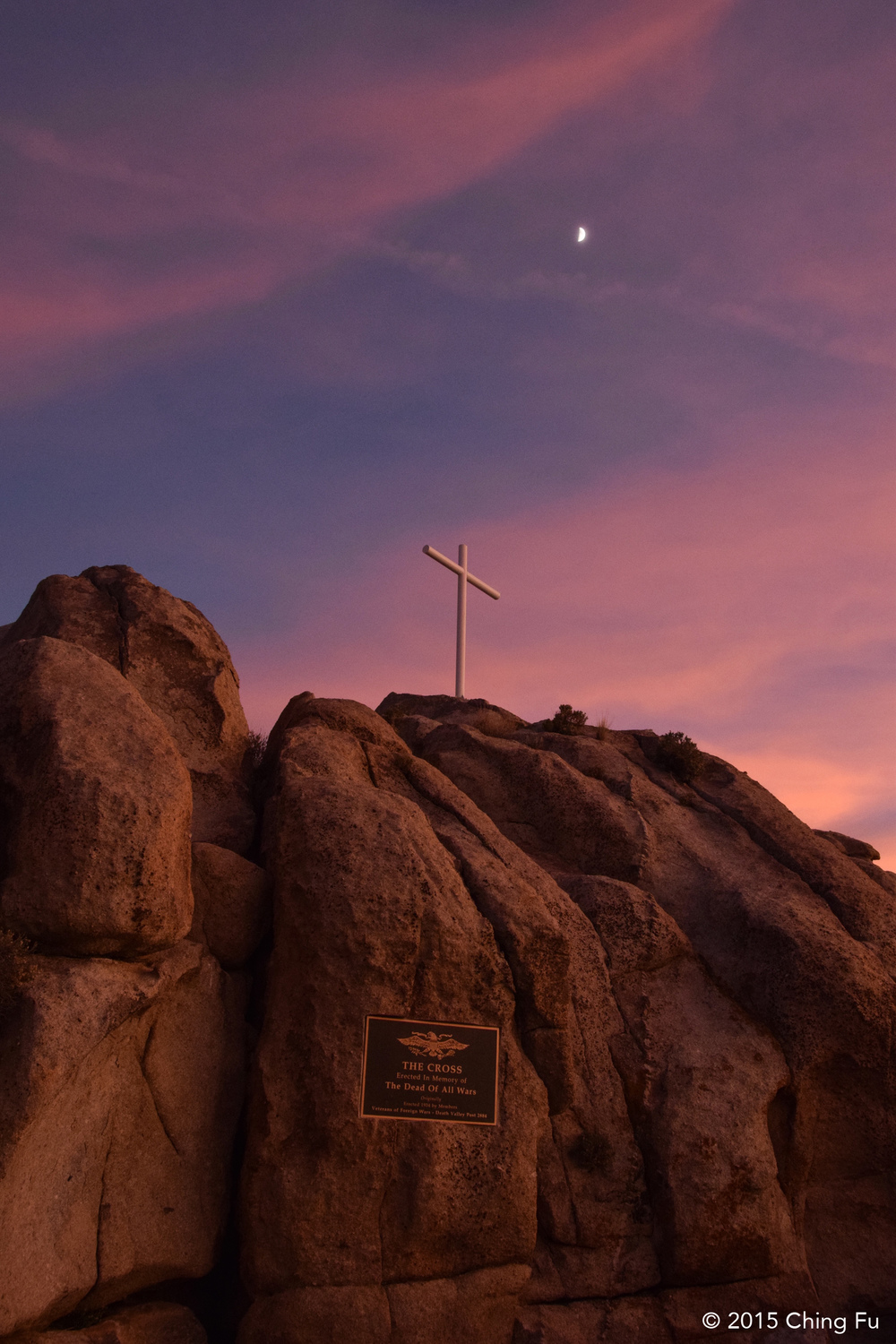 We boondocked behind Sunrise Rock aka Mojave Cross. The original cross was erected in 1934 in honor of those who died in war.