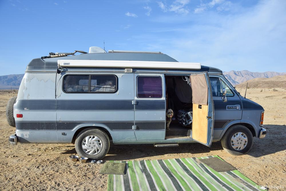 This is Big Blue, Tim's (aka Van Tramp's) van. That's Moose inside the van. He's adorable and Tyki's boyfriend.