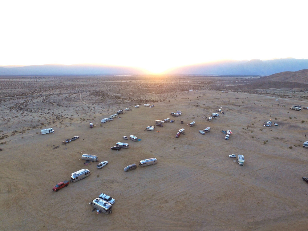 Drone shot of our boondocking site as more people were showing up. Photo by @gm3sf.