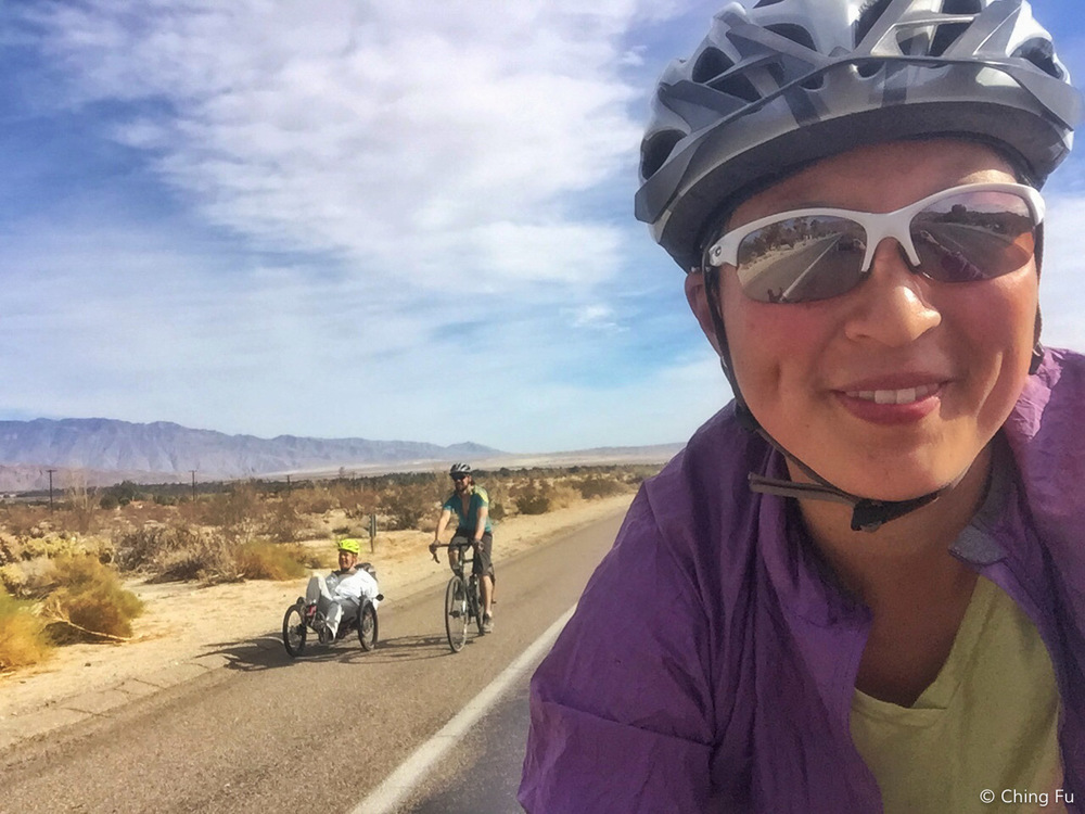 Biking into Borrego Springs with Jerud and Vince.