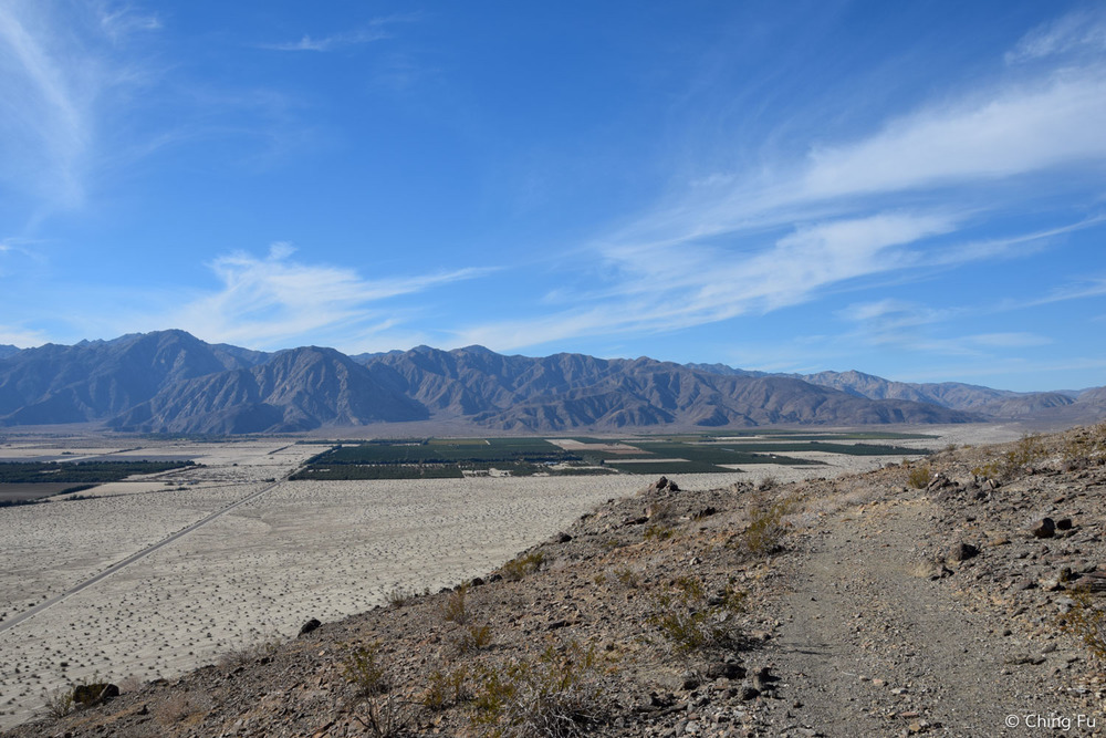 The trail overlooks the fruit groves down in Borrego Springs.