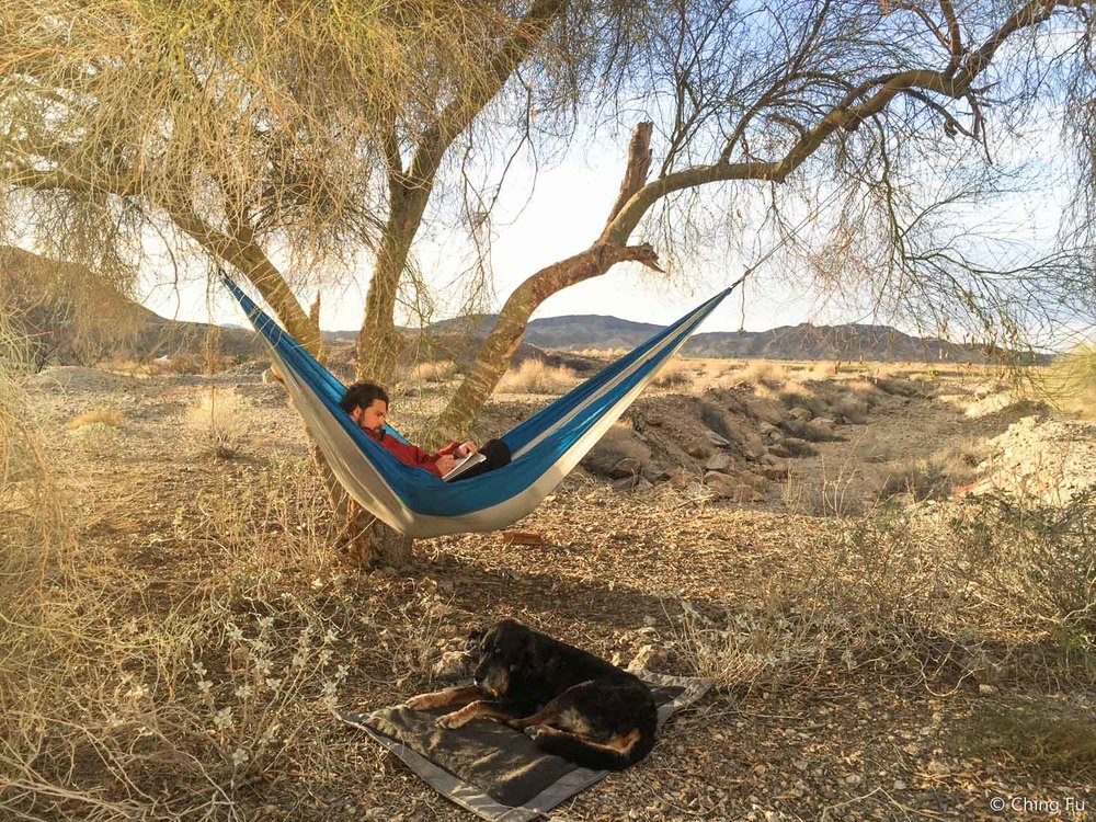 Post-paddle chill. Jerud wanted to hammock so badly that he figured out a way to using just one tree.