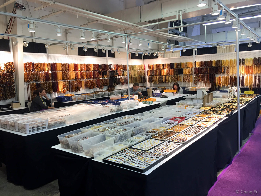 A booth at the gem and mineral show.