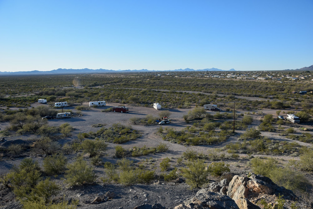 View of our site from the top of the hill.