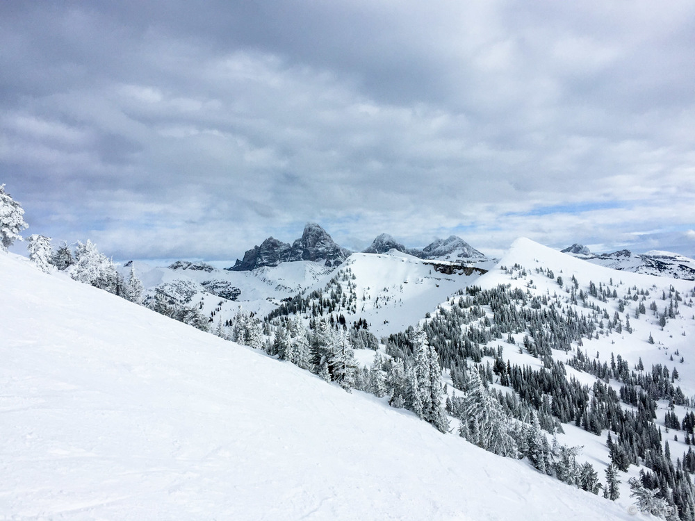 View of the Tetons from Grand Targhee Ski Resort.