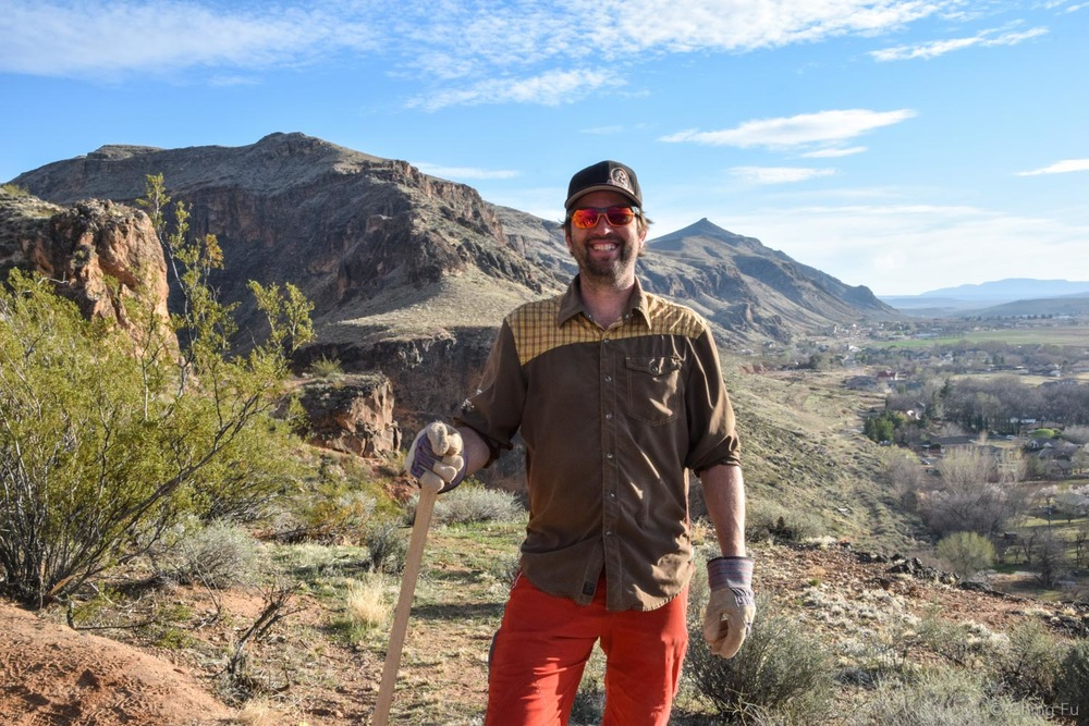 We went out and did trail work with Quinn, co-owner of Over the Edge Sports.