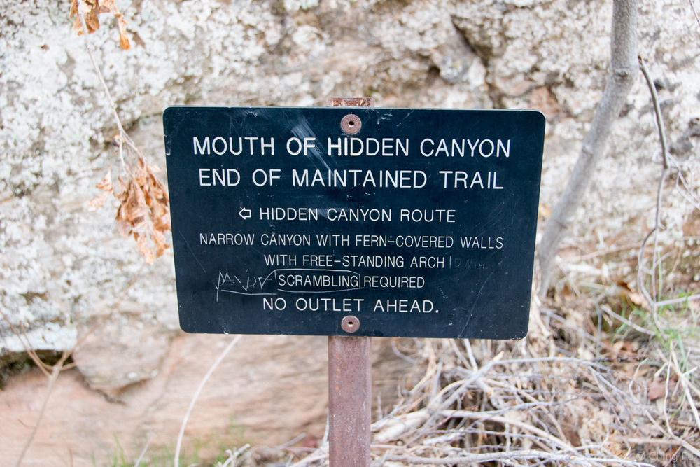 Sign at the mouth of Hidden Canyon.