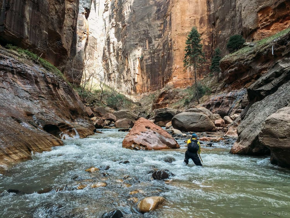 Bill hiking through the Virgin River in the Narrows.