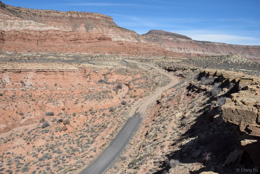 This is the main road leading into Flying Monkey Mesa, and the view from the boondocking site at the top of the mesa.