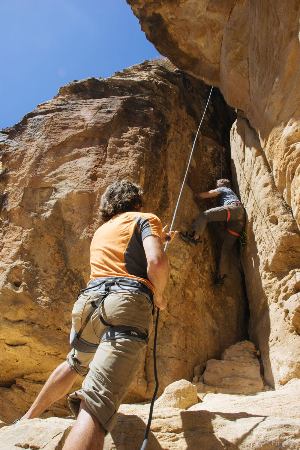 Jerud belaying Karl.