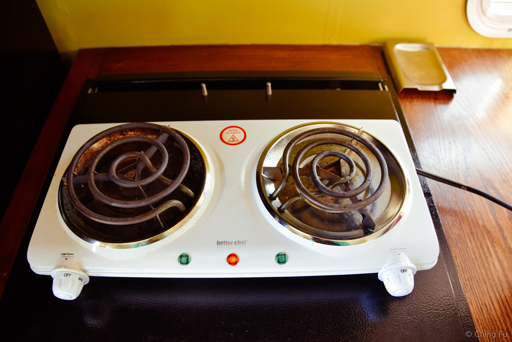 Our two burner electric cooktop.