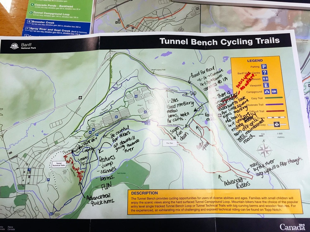 Tunnel Bench cycling trail map with notes.