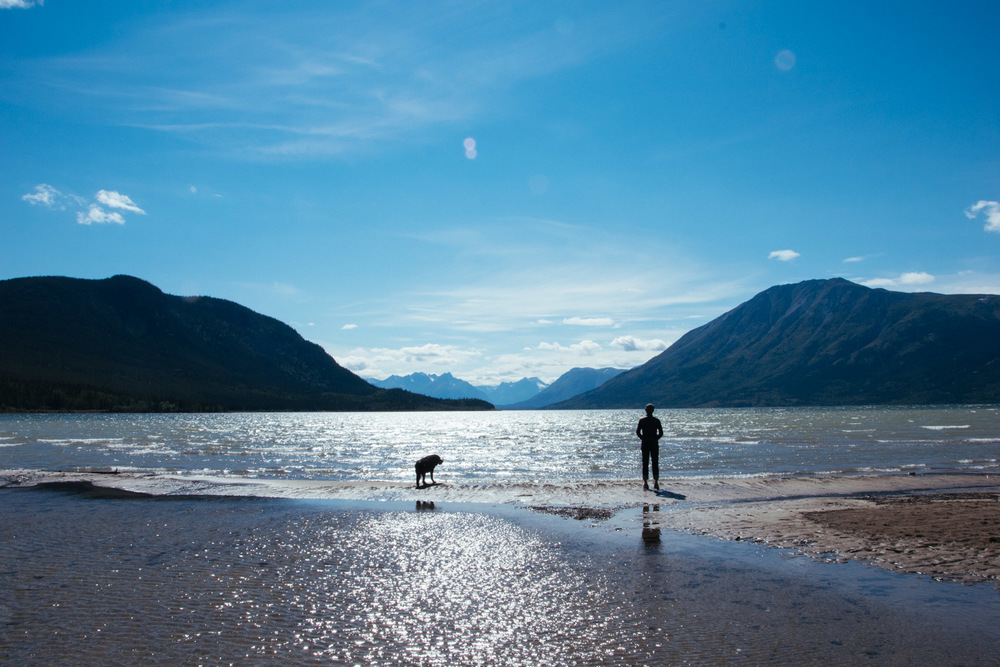 Tybee and me enjoying the view at Bennett Lake in Carcross, Yukon.