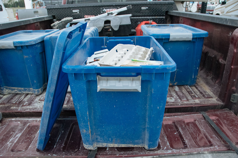 Our recycling lives in one of these 4 bins.