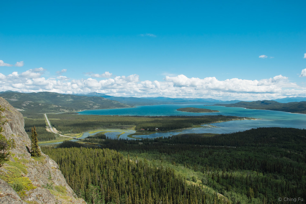 Marsh Lake and the Alaska Highway seen from above.