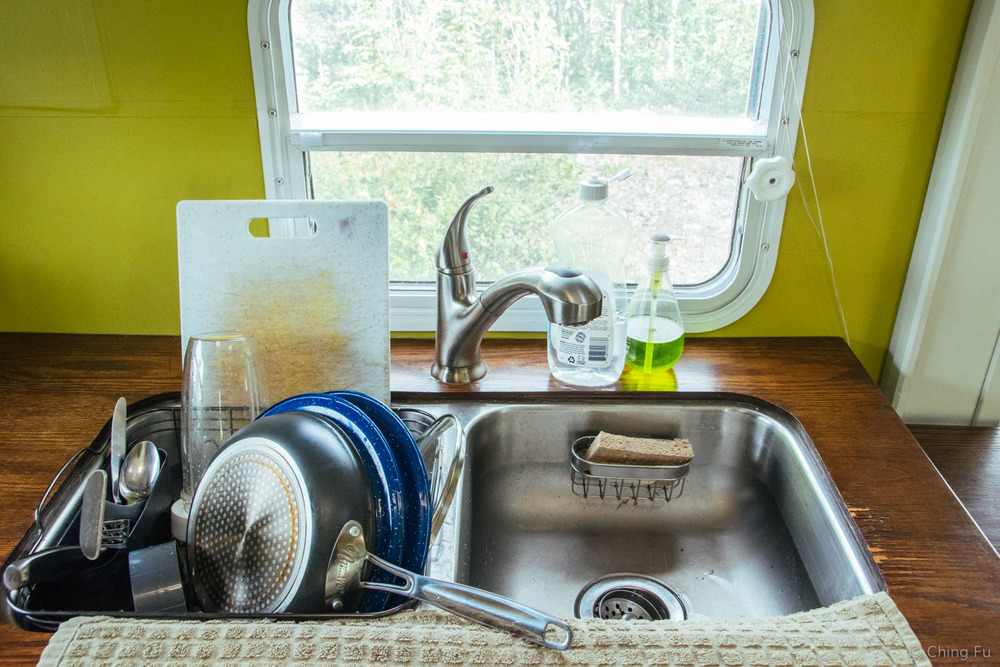 RV kitchen sink.