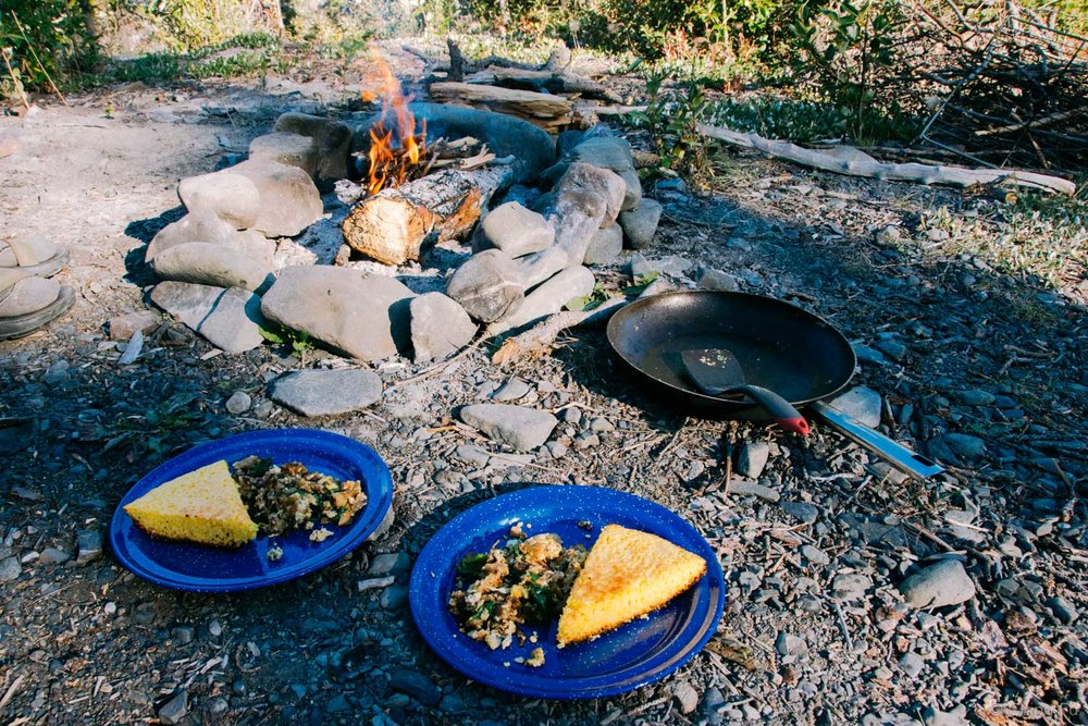 Campfire egg scramble and cornbread for breakfast.