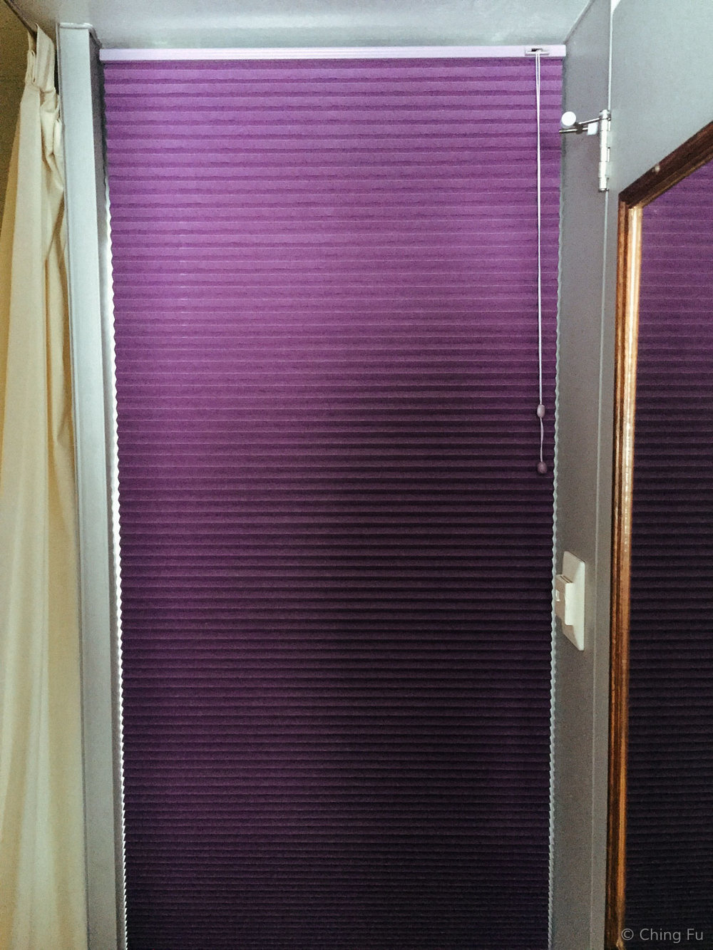 Cellular window blind used as a door.
