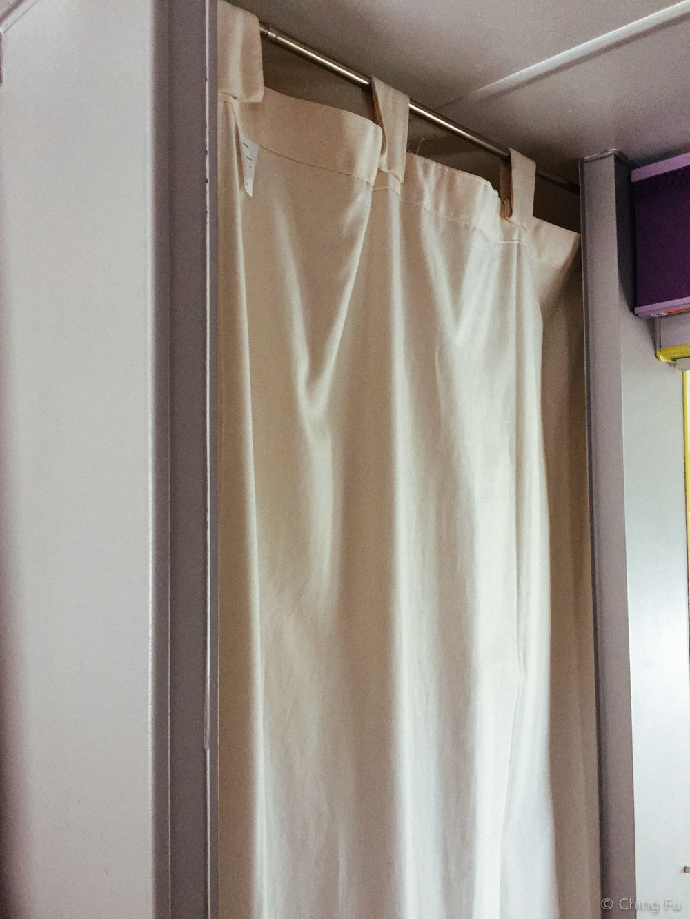 Curtain instead of a real door for our bathroom.