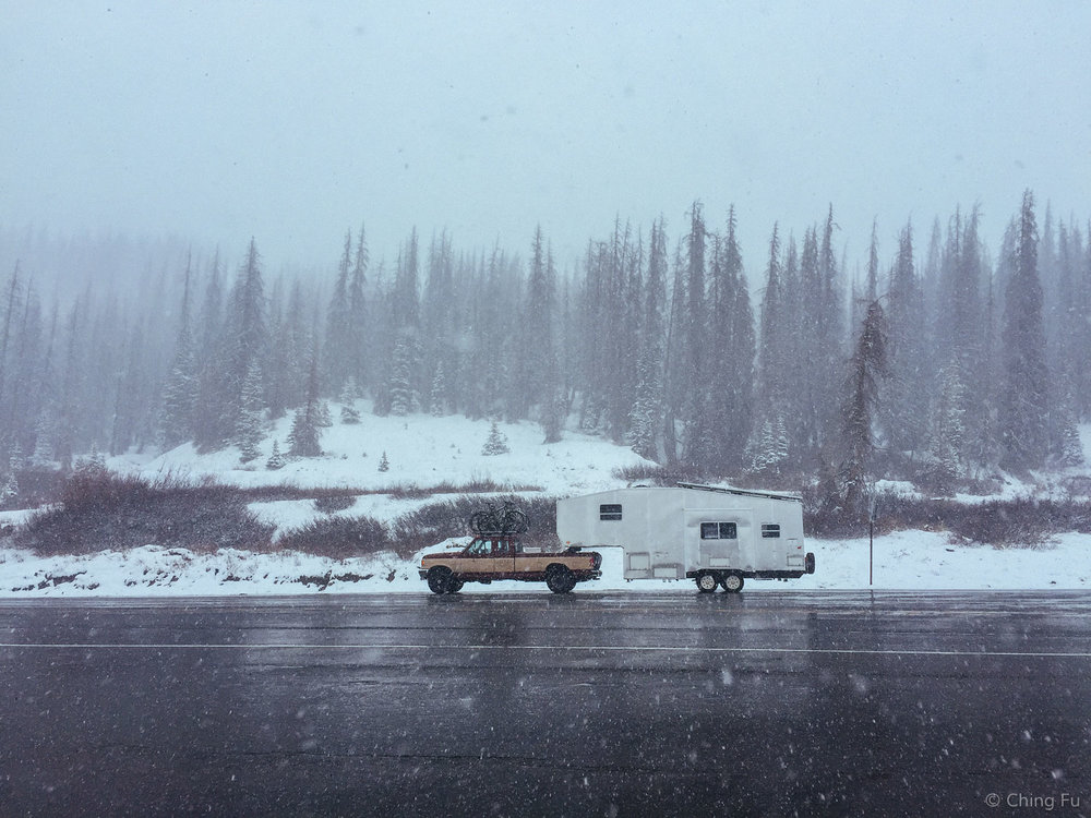 This was Wolf Creek Pass in April. And we made it up and over it in our old truck!
