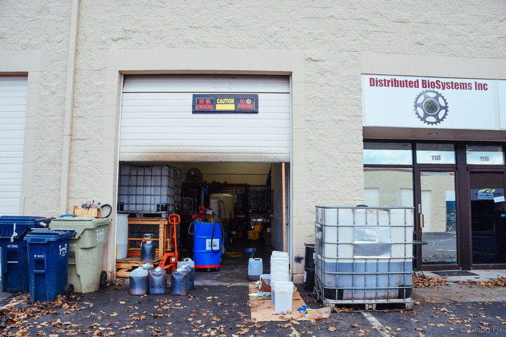 We came across  Distribued BioSystems , an independent company making biodiesel in Oregon. Dennis and Tracy, the owners, were kind enough to let us buy unfiltered WVO from them and filter it on-site using our equipment. This was a big deal because we had given up finding any grease in the Portland area.