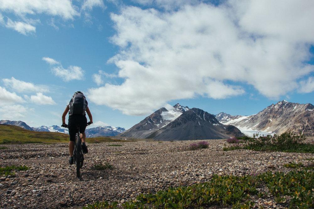 Riding to Samuel Glacier.