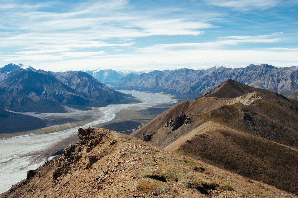 This almost dried river is Slims River, the main source of water for Kluane Lake. Follow the river and Kaskawulsh Glacier is somewhere on a mountain in the far background.