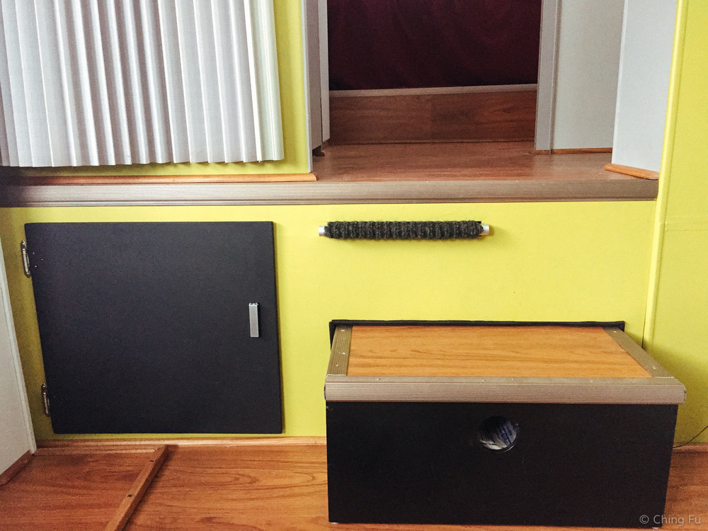 Our remodeled step,cabinet and ramp.
