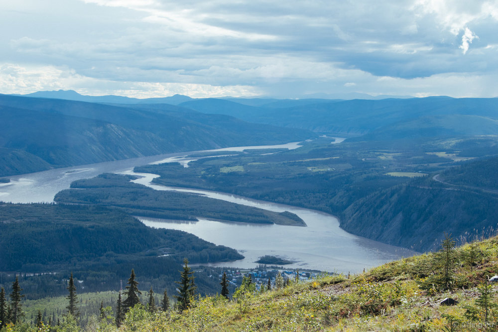 Yukon River and the town of Dawson City below.