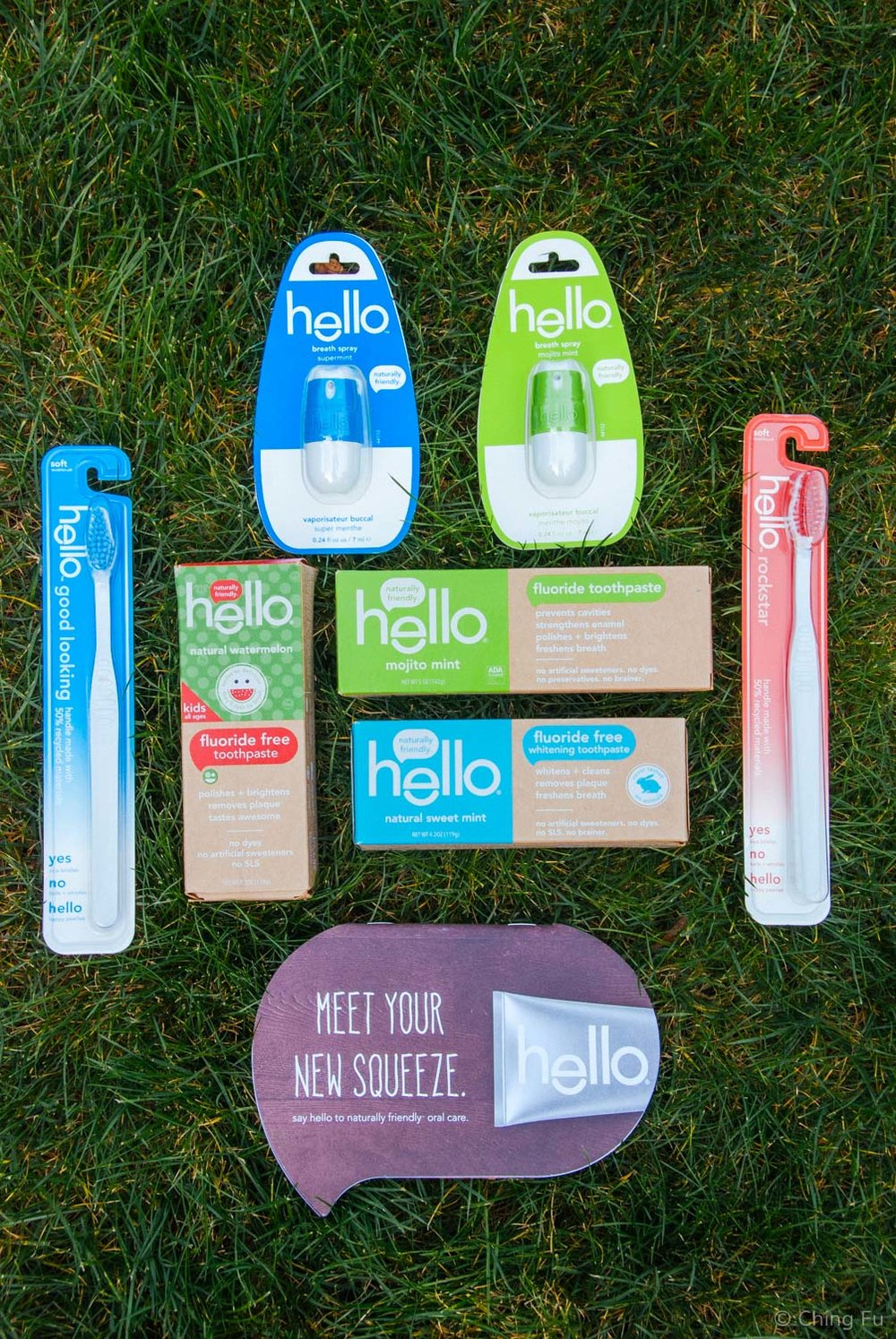 Hello toothpastes, toothbrushes, and breath sprays.