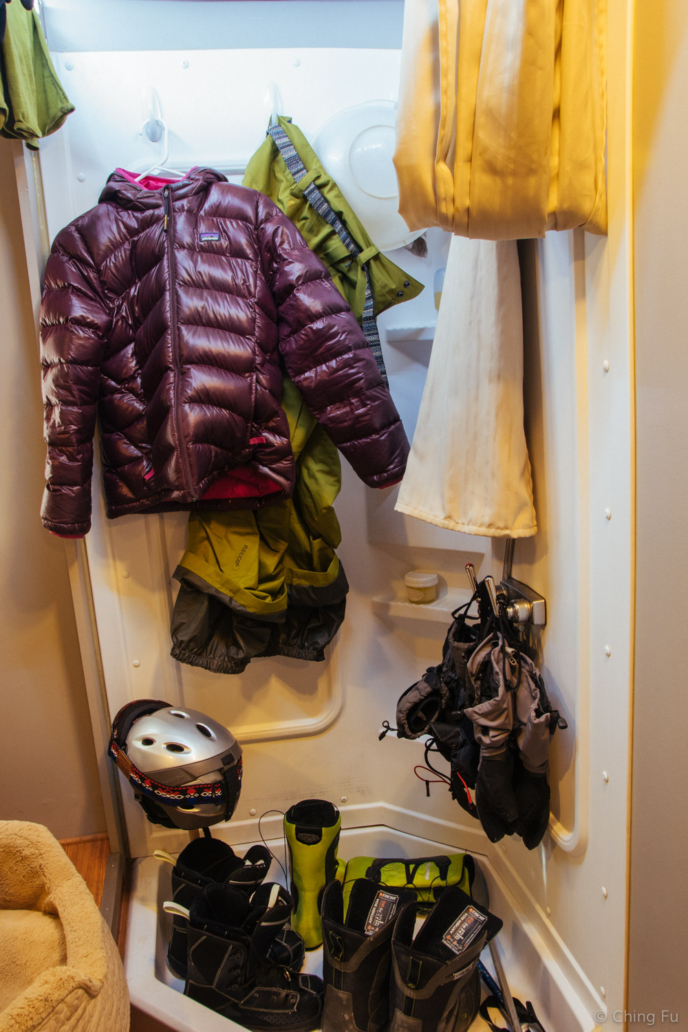 We dry all of our gear and clothing in the shower.