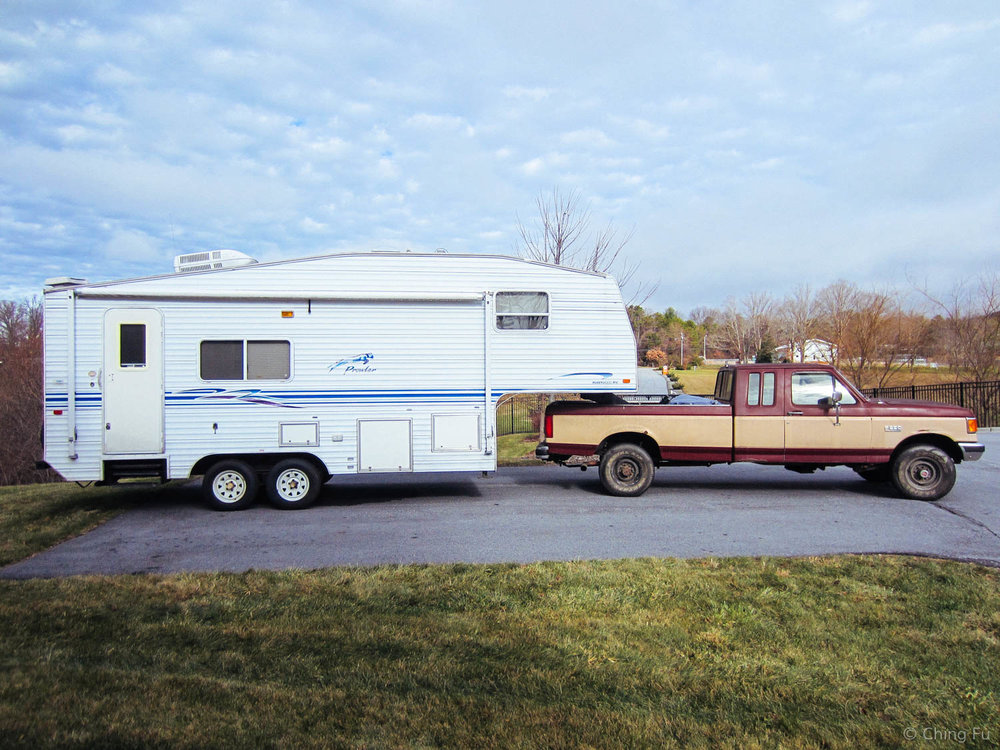 This was our initial truck - 1991 Ford F250 7.3 liters 4wd. Sadly we had to part ways in the fall of 2015 due to expensive repairs and high quantities of rust.