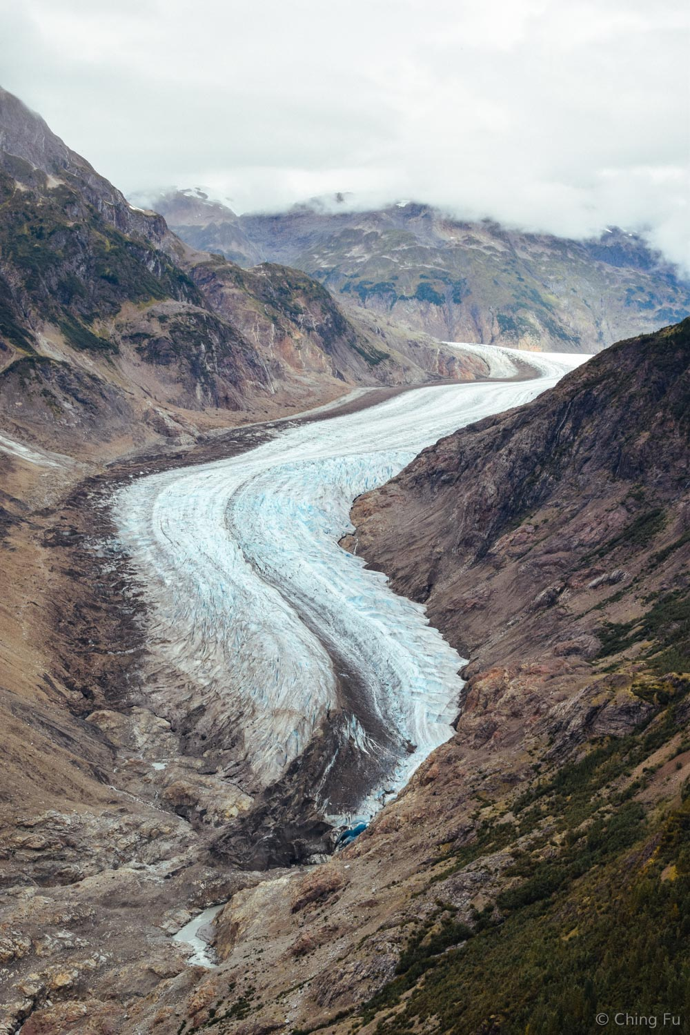 This is the left arm of the glacier and its toe.