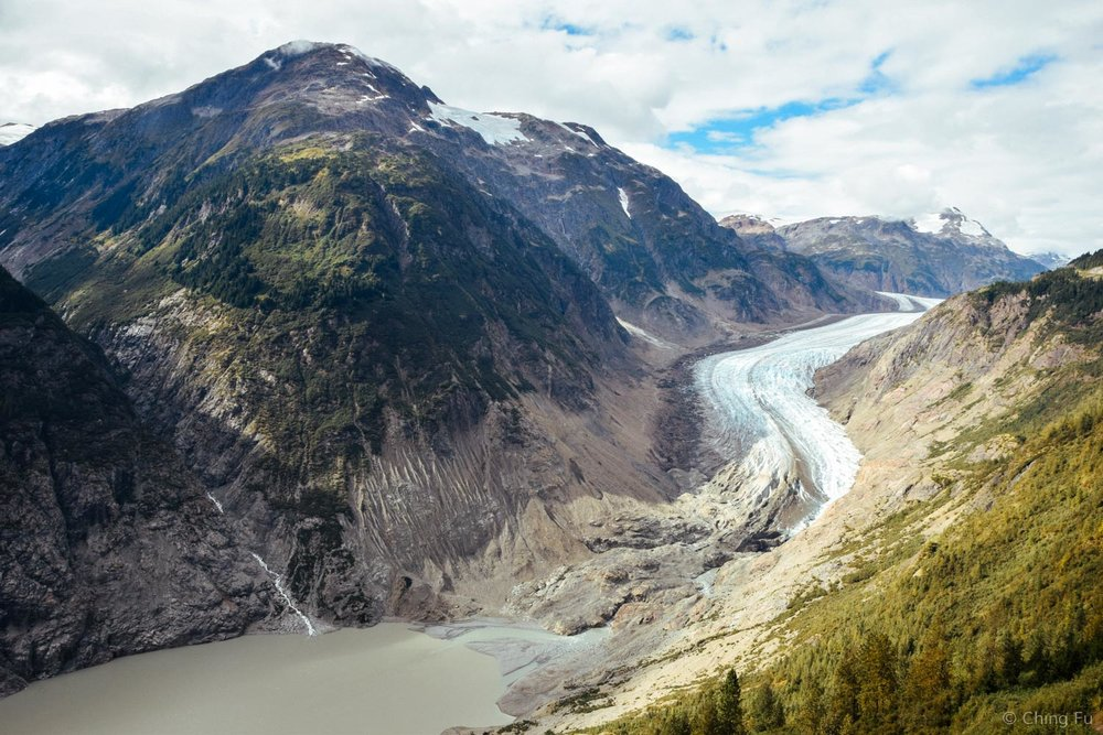 The toe of Salmon Glacier is also the start of the Salmon River.