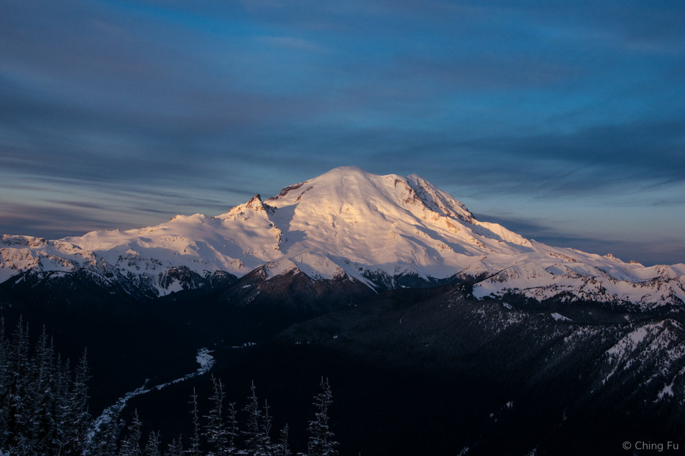Sunrise on Mt. Rainier.