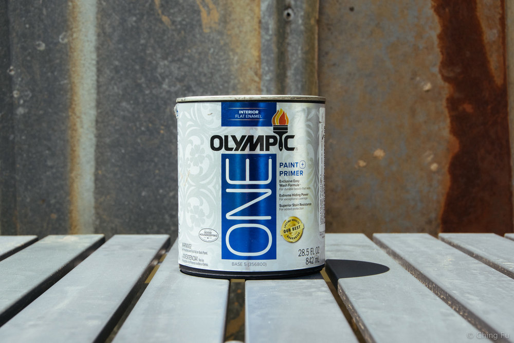 We used Olympic interior flat enamel paint & primer to paint the countertops.