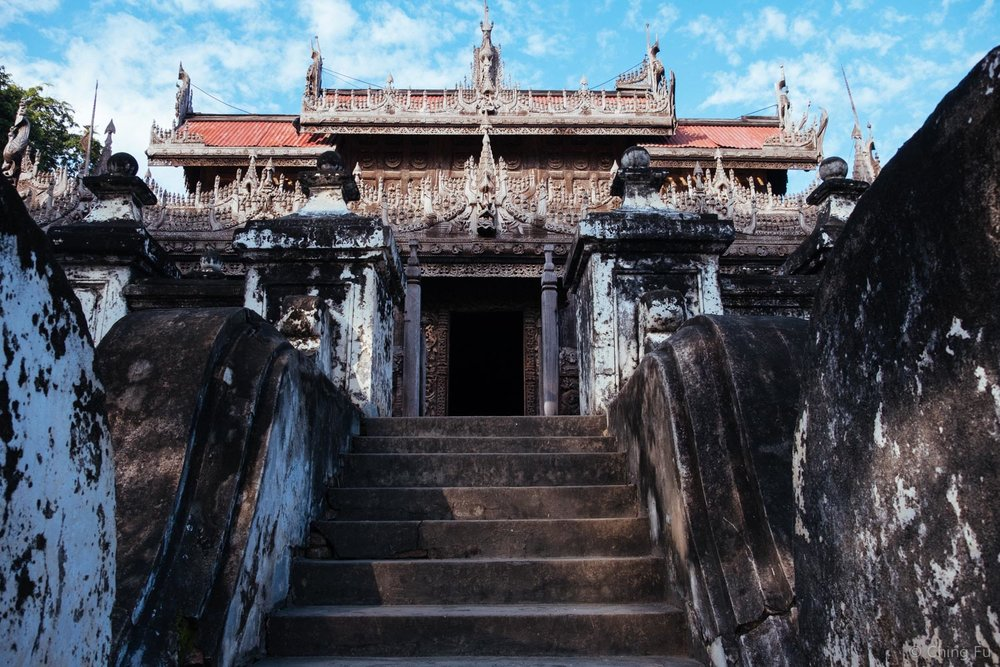 Walking up the steps of Shwenandaw Kyuang Temple