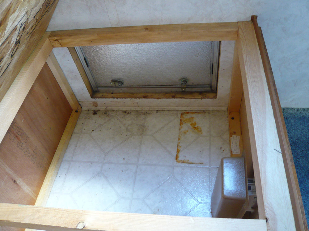 The space under one of the dinettes was accessible from outside the RV.