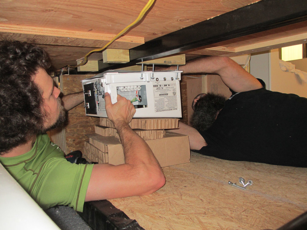 Installing the inverter in the basement was cramped and awkward.