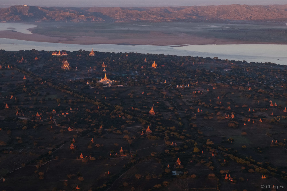 A section of Bagan viewed from a hot air balloon.