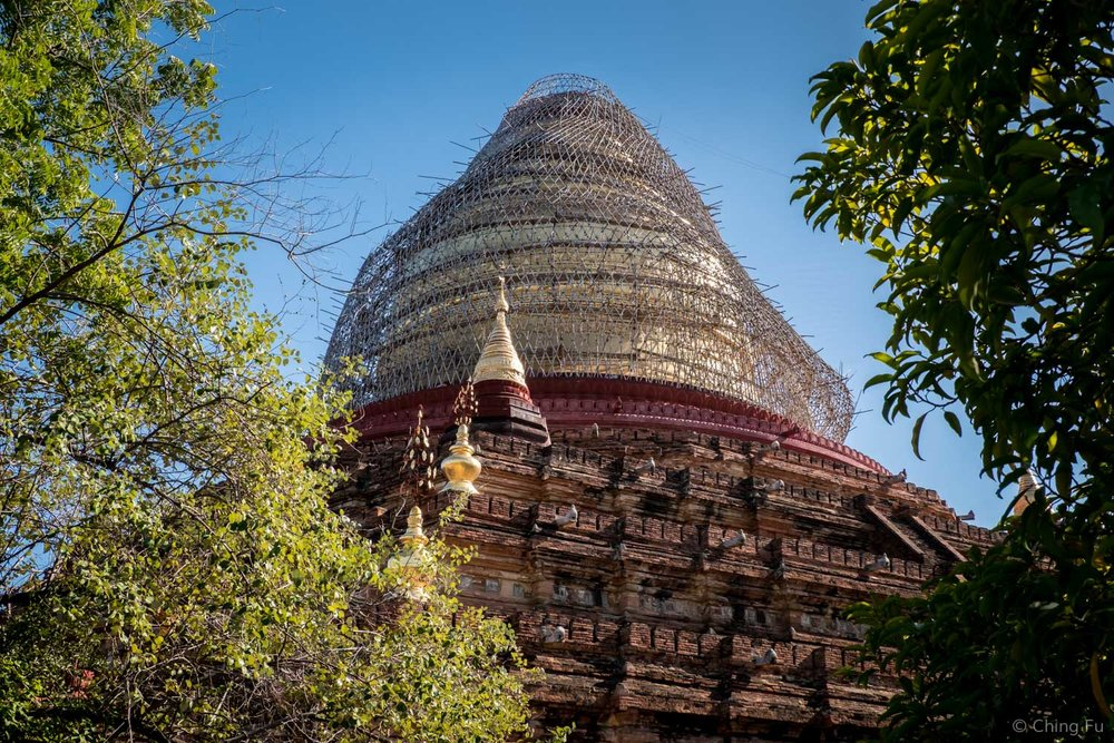 Dhammayazika Pagoda covered by bamboo scaffolding.