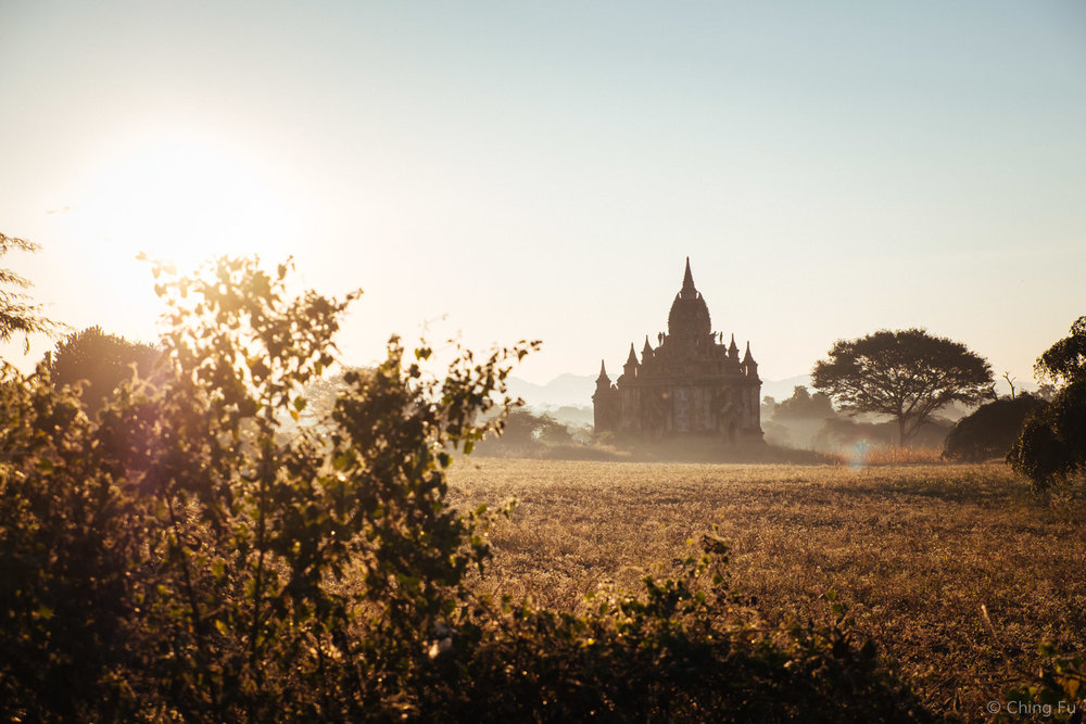 Sunset over Bagan temple.